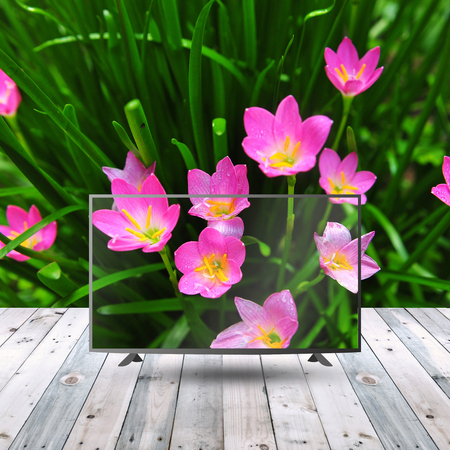 modern lcd monitor on wood table with display concept