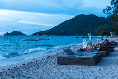 SURAT THANI, THAILAND - SEPTEMBER 29 : Sunset on the beach at Koh Tao in Suratthani, Thailand, on September 29, 2017.