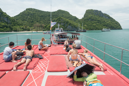 SURAT THANI, THAILAND - SEPTEMBER 26, 2017 : unidentified tourist visit Angthong Islands, koh Samui, Suratthani, Thailand Editorial