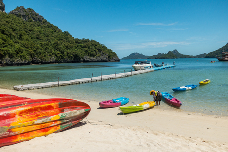 SURAT THANI, THAILAND - SEPTEMBER 27, 2017 : unidentified tourist visit Angthong Islands, koh Samui, Suratthani, Thailand