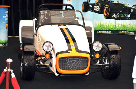 Bucharest, Romania, April 4, 2012 - Caterham Super 7 presented at SIAMB 2012