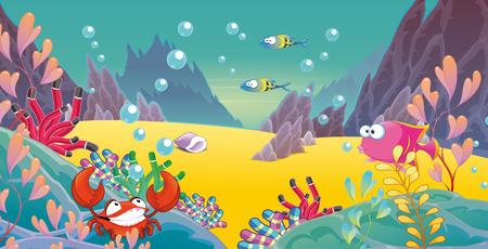 graphics cartoon undersea scene