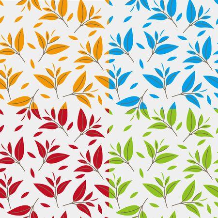 tea leaves: Fancy tea leaves patterns Illustration