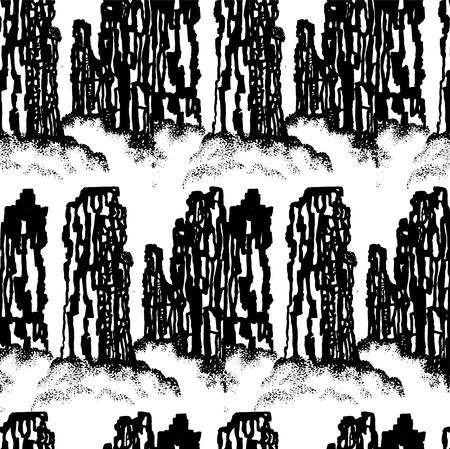 digital printing: Mountain landscape background decorative design Illustration
