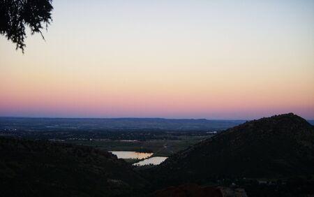 Sunset over the reservoir Banco de Imagens