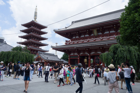 postwar: SENSOJI TEMPLE, JAPAN- JUNE 29, 2019: Sensoji temple is the popular temple and the symbol of Asakusa. Built in the 7th century, it is also one of its oldest, although the current buildings are postwar reconstructions. Tokyo, Japan Photo taken on: JUNE 29n Editorial