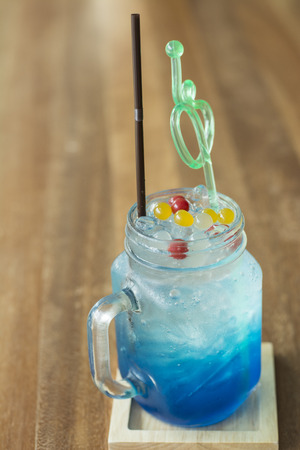 appealing: Blue Hawaiian sodas - colorful, appealing Stock Photo