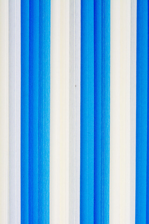 blinds: Prototype vertical blinds light blue and white.