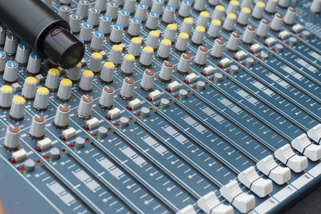 decibels: Professional Sound mixer close-up, macro