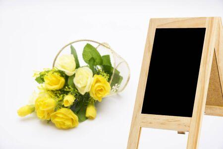 flower baskets: Wood blackboard backdrop background blur flower baskets for display or editing products