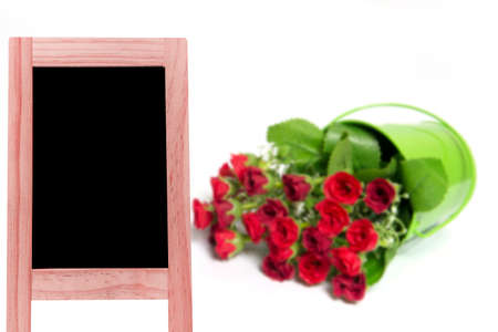 framed picture: Wood blackboard backdrop blurred background passion flower baskets for display or editing products Stock Photo