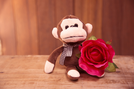 plushy: Red roses with a teddy monkey blurred background surface. Stock Photo