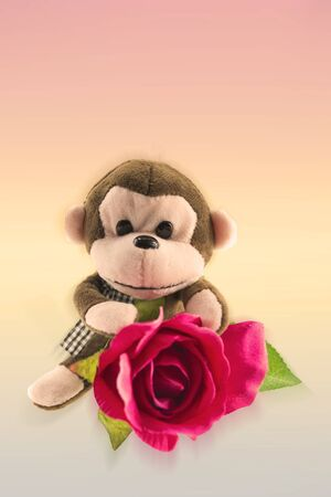 plushy: Monkey dolls with roses of love vintage background.