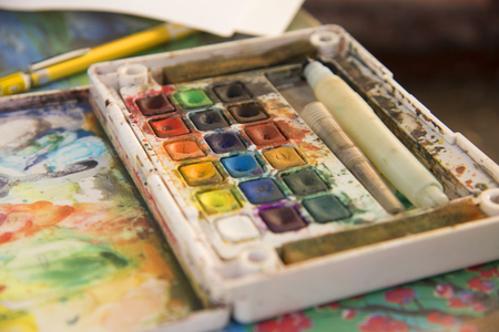 admixture: The many colorful watercolor background for display or editing products. Stock Photo