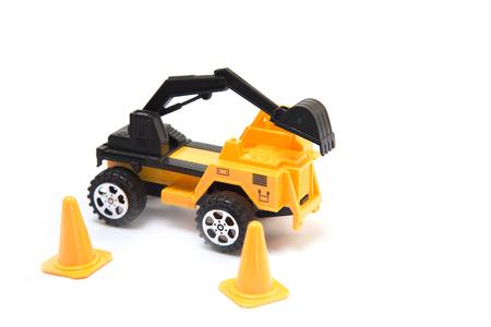 digger: mechanical digger car White background