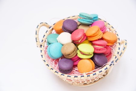 macarons: Macarons are multi-colored wicker basket
