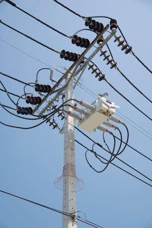 voltage gray: The high voltage electricity post in thailand Texture background Stock Photo