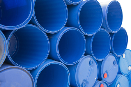 stacked up: Blue chemical barrels stacked up Texture background