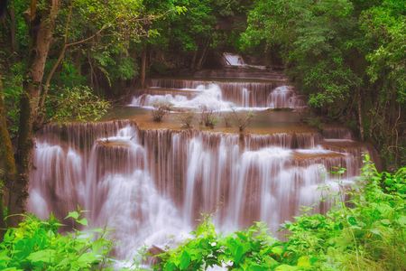 kanchanaburi: Huai mae kamin the waterfall is located on srinakarin dam national park
