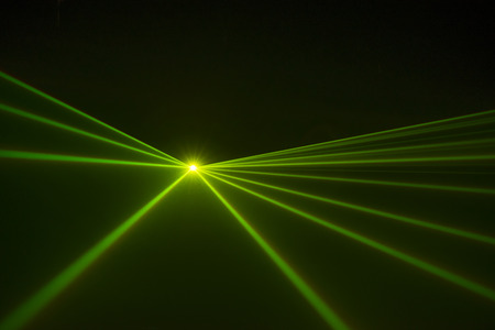 The led spot light covering light beams on an empty stage Stock Photo
