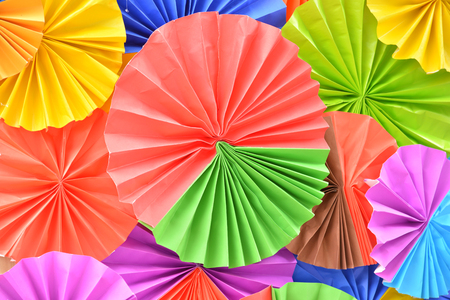 Background of colorful paper fans, Artistic background