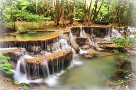 kanchanaburi:  Huay Mae Khamin Waterfall is so beautiful in Thailand. It is Huay Mae Khamin National Park, Kanchanaburi Province, Thailand.