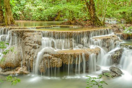 Huay Mae Kamin waterfall asia thailand in Season background