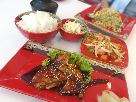 Japanese food , Steamed Snow Fish with Soy Sauce