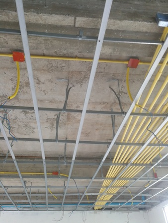 Ceiling under construction and home wiring duct