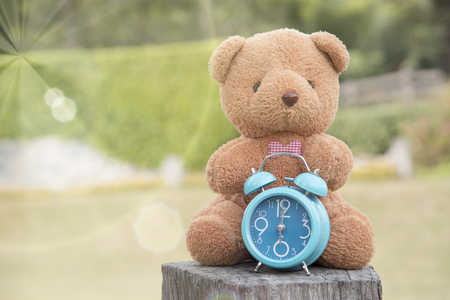 Teddy bear with blue clock on backdropas a background or wallpaper. Stockfoto