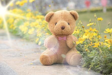 테 디 베어 부드러운 파스텔 꽃 배경입니다. 스톡 콘텐츠