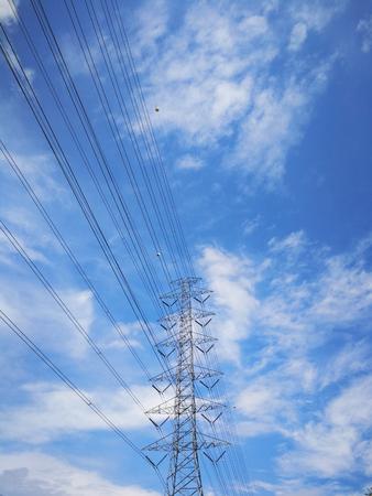 electricity transmission pylon On the wallpaper background
