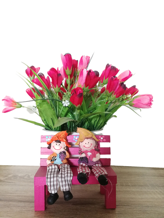 Two cute dolls on a flower background.