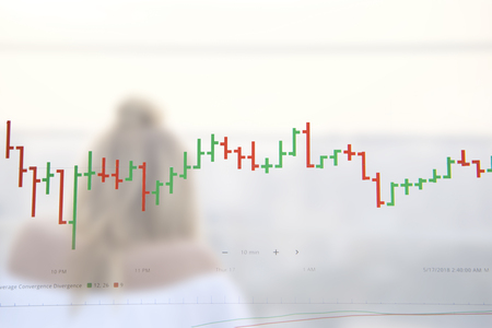 Trading graph on the and world map background,Business financial concept