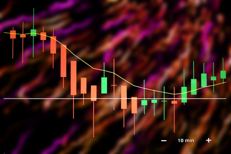 Business with stock chart in colorful backdrop. Stock Photo