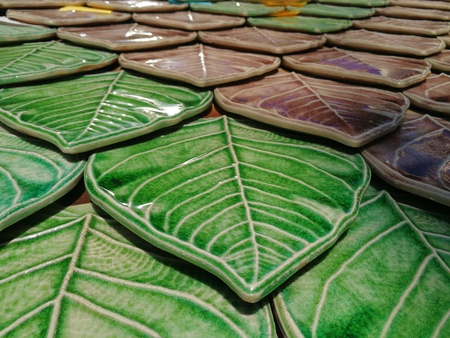 Colorful ceramic roof tiles, color toning leaves applied