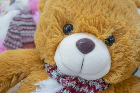 Teddy Bear toys collectibles on an abstract background. Stock Photo