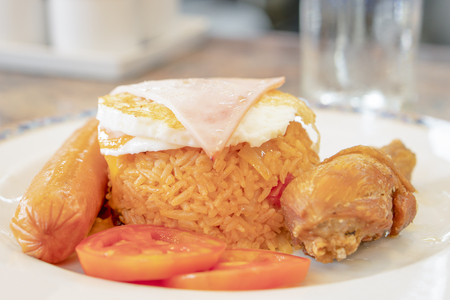 American fried rice, egg and chicken Is a ready-made food background