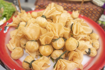 Thai traditional appetisers (Toong Tong) Stock Photo - 117117813