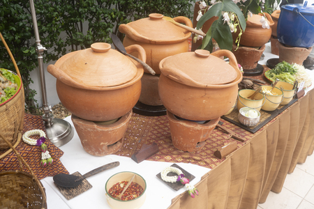 Concept of clean food. Thais traditional earthware pot Stock Photo