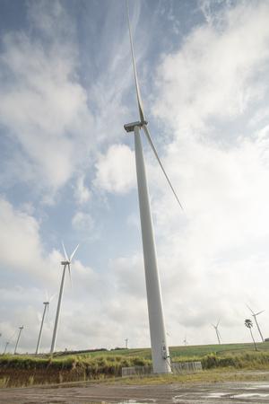 Windmills farm or Wind turbine power generators Stock Photo - 117117865