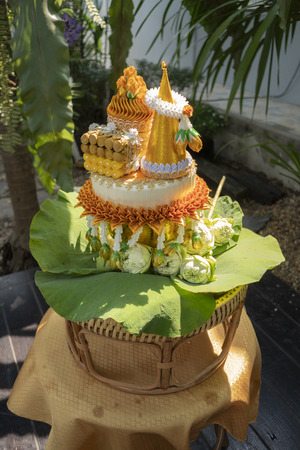 Items needed for ordination in temple in thai Stock Photo - 118845866