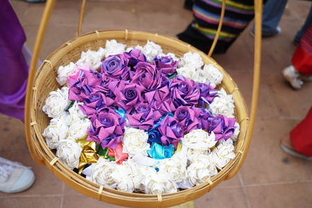 Items needed for ordination in temple in thai Stock Photo - 118845892