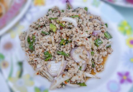 Laab Pork salad in Thai food,