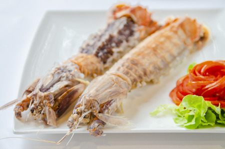Mantis shrimps with tomatoes on the White Blackground