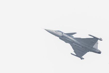 The Gripen plane above the horizon is a white background.