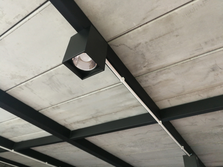 Ceiling light rail set on abstract background