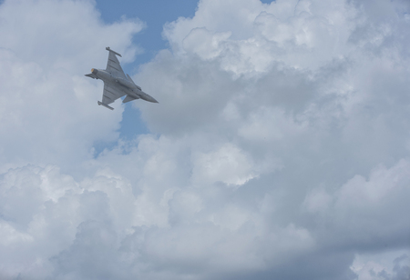 Plane Fighter jet the horizon as a background or wallpaper 写真素材 - 123925714