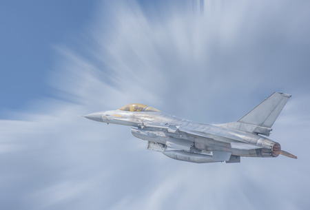 Plane Fighter jet the horizon as a background or wallpaper 写真素材 - 123925715