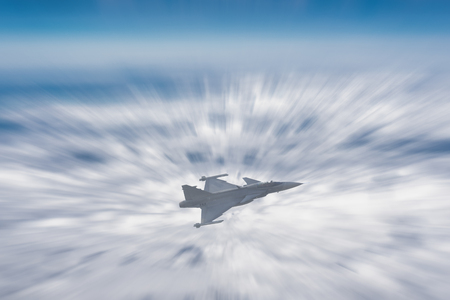 Plane Fighter jet the horizon as a background or wallpaper 写真素材 - 123925736